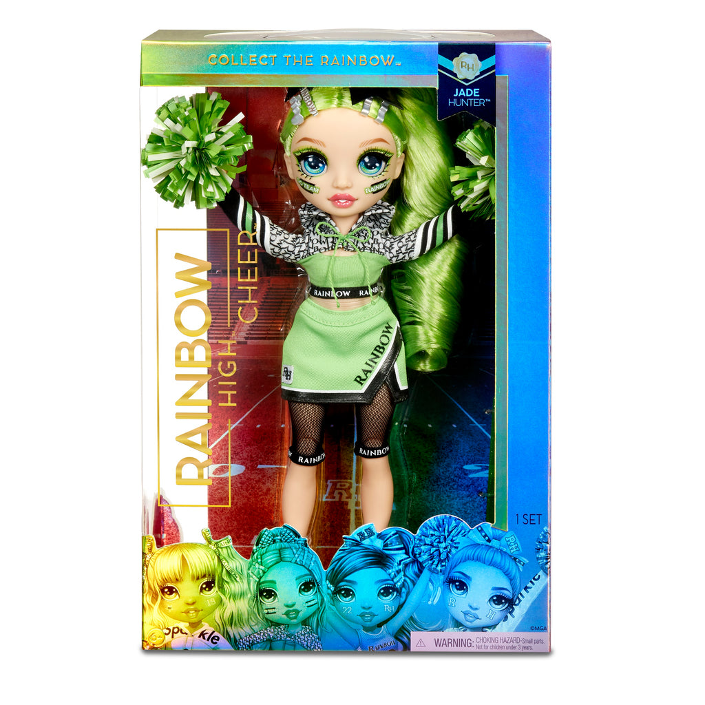 RAINBOW HIGH -  CHEER JADE HUNTER - Green Fashion Doll with Pom Poms, Cheerleader Doll