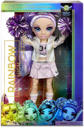 RAINBOW HIGH -  CHEER Violet Willow - Purple Fashion Doll with Pom Poms, Cheerleader Doll