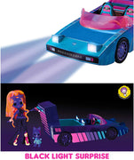 L.O.L LOL Surprise Dance Machine Car with Exclusive Doll, Surprise Pool, Dance Floor and Magic Black Light