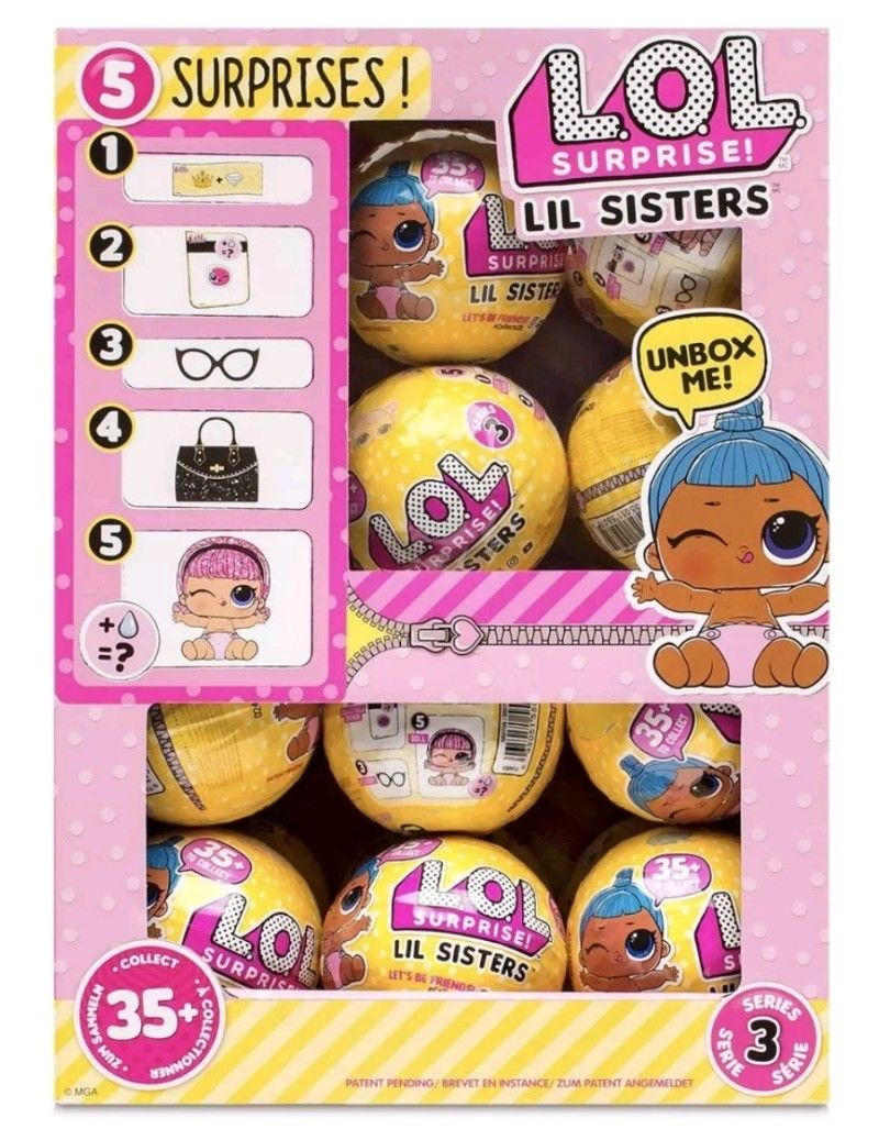 L.O.L LOL Surprise Dolls - LIL SISTERS Series 3 ~ WAVE 2 ~ FULL BOX OF 24