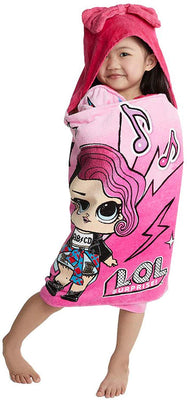 L.O.L LOL Surprise - Soft Cotton Hooded Bath Towel Wrap 60cm by 1.25meter Pink