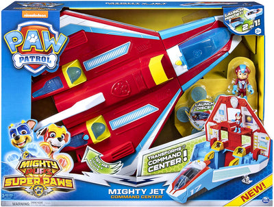 Paw Patrol -  Super Paws, 2-in-1 Transforming Mighty Pups Jet Command Center with Lights and Sounds