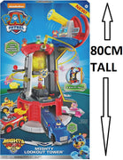Paw Patrol Mighty Pups Super Paws Lookout Tower Playset + Lights & Sounds - 80 CM TALL