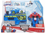 Rescue Bots - PlaySkool Heroes -OPTIMUS PRIME RACING TRAILER PLAYSET + Blurr
