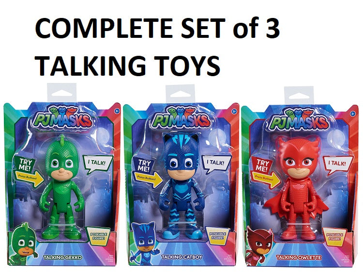 PJ MASKS - OWLETTE CATBOY GEKKO FULL SET of 3 -  20cm DELUXE TALKING phrases figures