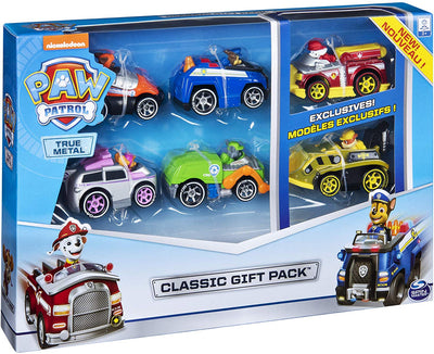 Paw Patrol  - TRUE METAL 6 PACK GIFT SET Diecast Vehicles Chase,Marshall,Rocky,Rubble,Zuma,Skye