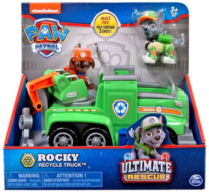 Paw Patrol -  ULTIMATE RESCUE - Rocky's Recycling Truck with Moving Crane & flip-open Ramp