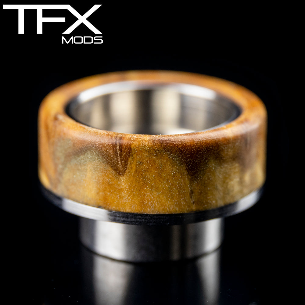 TFX 810 Drip Tip - 304 Stainless Steel - Brown Mallee Burl