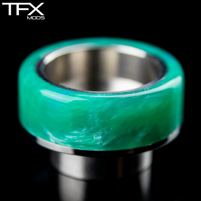 TFX 810 Drip Tip - 304 Stainless Steel - Emerald And Pearl Resin