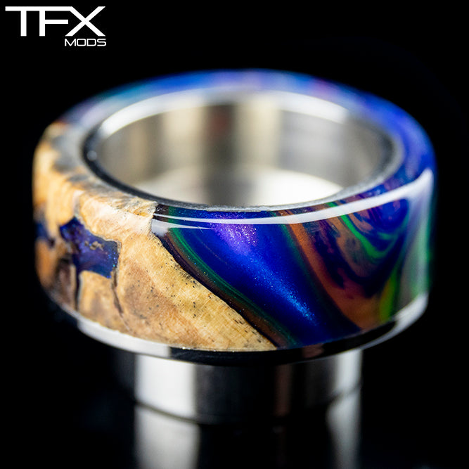 TFX 810 Drip Tip - 304 Stainless Steel - Poplar Burr And Blue, Emerald And Orange Resin