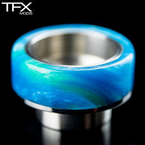 TFX 810 Drip Tip - 304 Stainless Steel - Sky Blue And Emerald Resin