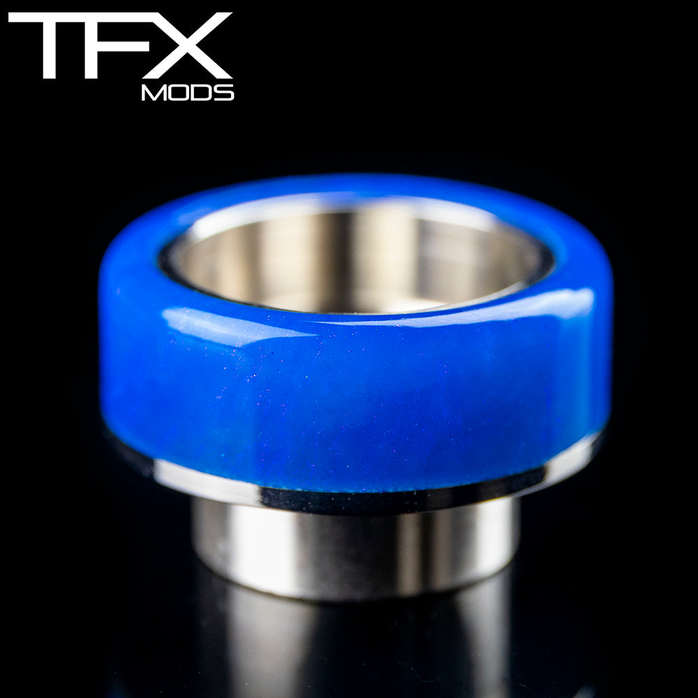 TFX 810 Drip Tip - 304 Stainless Steel - Deep Blue And Pearl Resin