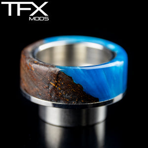 TFX 810 Drip Tip - 304 Stainless Steel - Elm Burr And Sky Blue Resin
