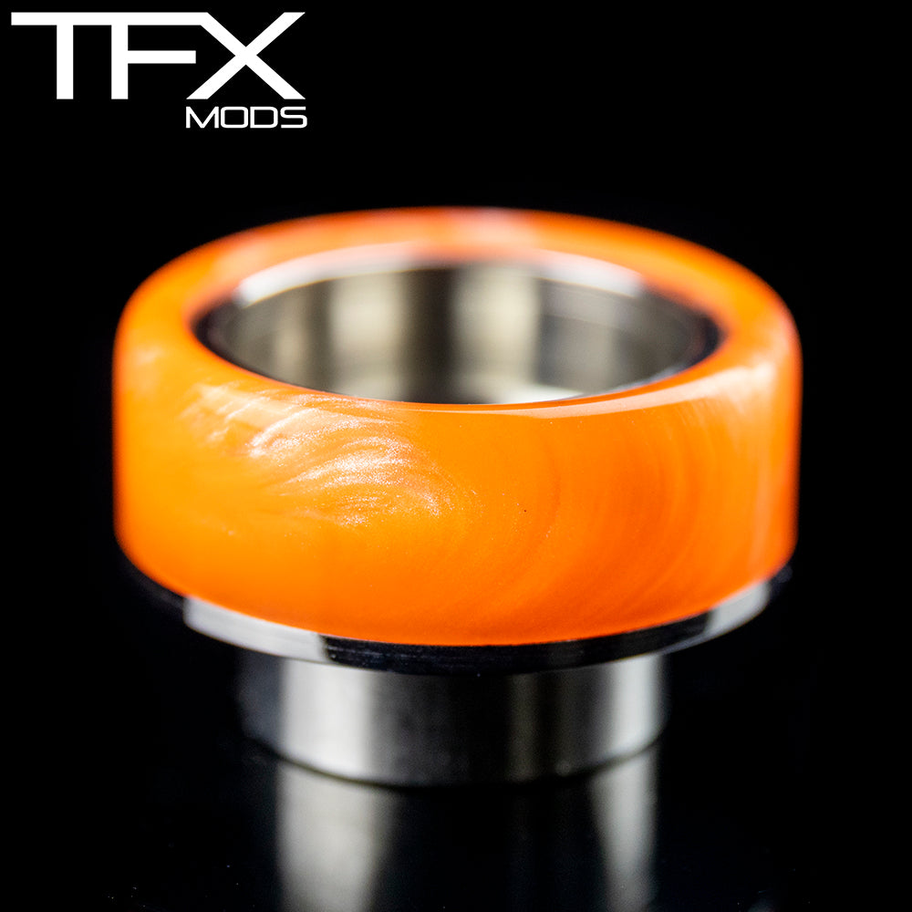 TFX 810 Drip Tip - 304 Stainless Steel - Flo Orange Resin