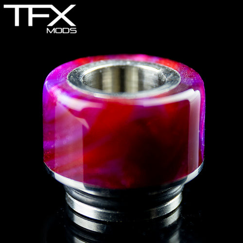 TFX 510 Drip Tip - 304 Stainless Steel - Deep Red, Purple And Pearl Resin