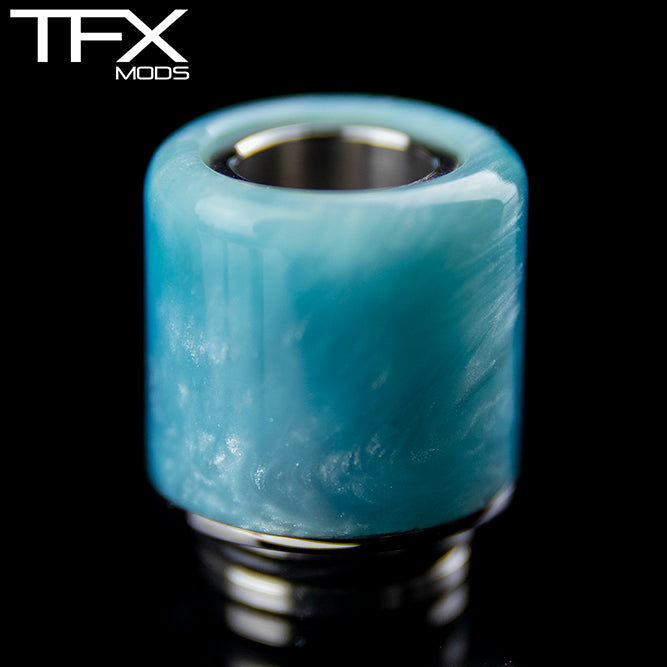 TFX 510 Drip Tip - 304 Stainless Steel - Light Blue And Pearl Resin