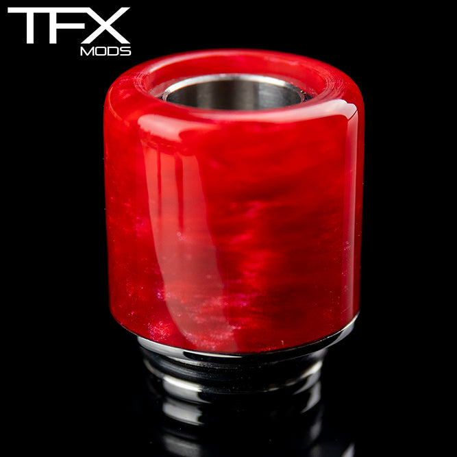 TFX 510 Drip Tip - 304 Stainless Steel - Red And Pearl Resin