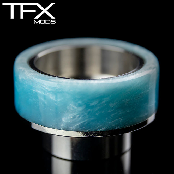 TFX 810 Drip Tip - 304 Stainless Steel - Light Blue And Pearl Resin