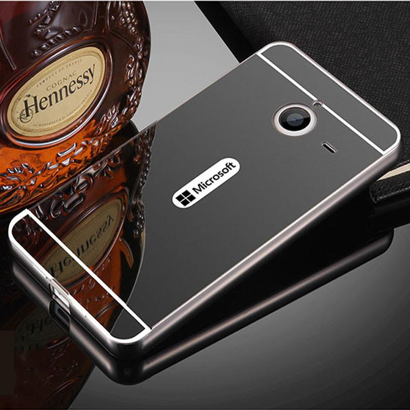 low priced a33b1 56a5d For Nokia 640XL Case Mirror Aluminum Metal Bumper Frame & Hard PC Back  Cover Coque For Microsoft Lumia 640 XL Funda Phone Cases