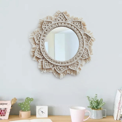 Macrame Wall Hanging Mirrors for Home Espejos Decorativos Wall Mirrors Creative Home Art Boho Decor Makeup Bath Room