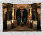 Gothic Tapestry, Dark Mystic Ancient Hall with Pillars and Dome Shrine Building Illustration, Wall Hanging Tapestry