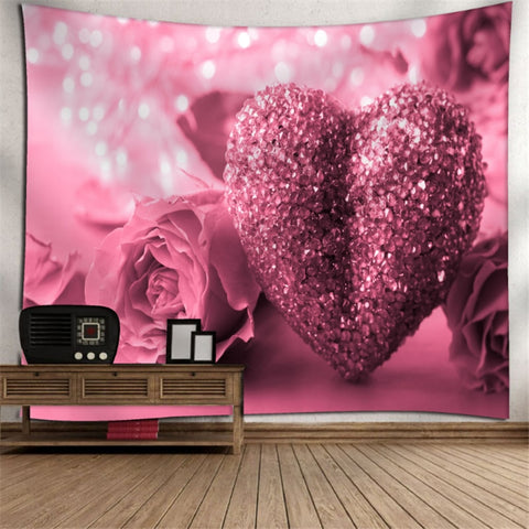 Large Rose Flower Decor Tapestry Wall Hanging Valentine's Day Curtain Fabric Home Living Room Bedroom Dorm Decor