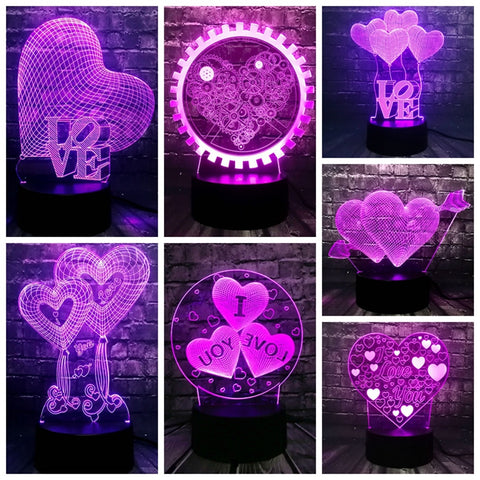 I LOVE YOU Sweet Lover Heart Balloon 3D LED USB Lamp Romantic Decor 7 Color Luster Night Light Girlfriend Gift Mother's Day