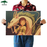 Hayao Miyazaki Anime Movie Poster Set Kraft Paper Cafe Bar Retro Poster Decorative Painting Art Wall Stickers Home Decor
