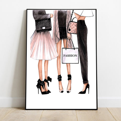 Canvas Painting Fashion Girls Nordic Wall Pop Art Poster Prints Vogue Decoration Pictures