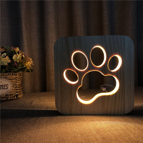 LED Wooden Dog Cat Paw Night Lights Warm Colors 3D Decor Lamp for Kids Baby Christmas Gift