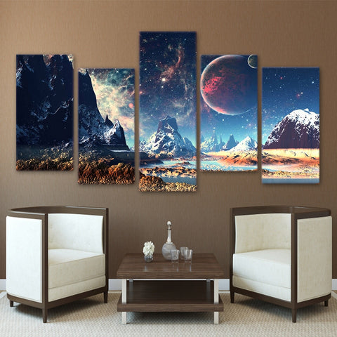 Galaxy Picture Painting Nebula Canvas Art Poster Snow Mountains Space Canvas Set Planet Lake Pictures 5 Pieces Prints Home Decor