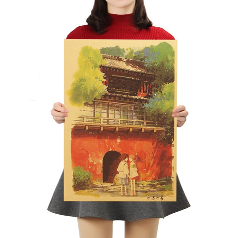 Spirited Away D Style Kraft Paper Classic Cartoon Film Poster Home Decor Wall Sticker 50.5X35cm