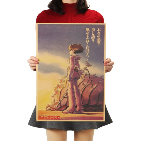 Comic Nausicaa Valley of the Wind Movie Poster Retro Kraft Paper Decorative Painting