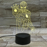 Marvel Figure Iron Man LED 3D Lamp Illusion Touch Night Light Auto Flash Multicolor RGB Home Decor