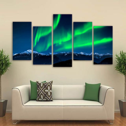 5 Piece Canvas Art Green Aurora Painting Large Framed Landscape Wall Pictures for Living Room