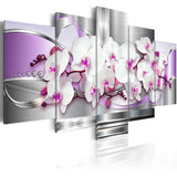 5 Pieces Canvas Photo Prints Purple Orchid Wall Art Picture Canvas Paintings Home Decor  pictures for living room Framed