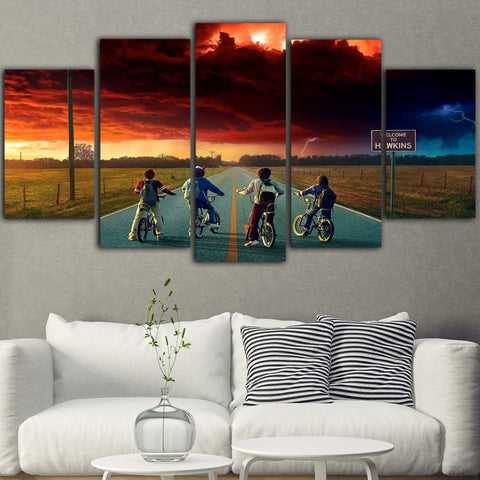 5 Piece Wall Painting Stranger Things Picture Movie Posters Canvas Art For Living Room Quadro Decoration Tableau Prints Poster