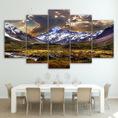 5 Piece Ice Mountain Posters and Prints Painting Grassland Landscape Picture for Living Room Home Decor ny-6518