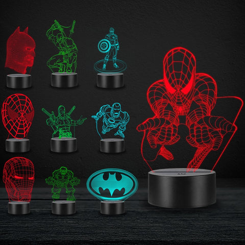 Cartoon LED 3D Lamp Movie Marvel Hero Spiderman Deadpool Hulk Iron Man Home Decorative USB Night Light