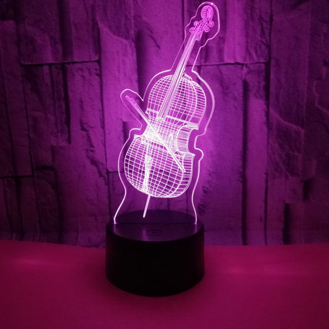Violin 3d Lamp Colorful Remote Touch switch Lovely 7 color change 3D Led Night Light Kids Room Led