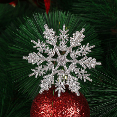 12Pcs Charming 7.5/10cm Gold Powder Snowflake for Xmas White Christmas Tree Decor Party Holiday Christmas Ornaments Home Decor