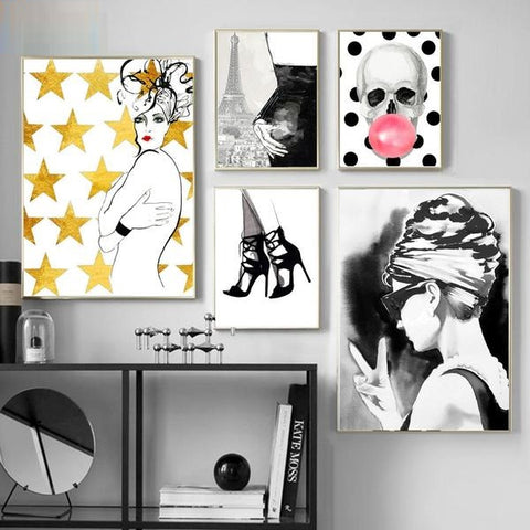 Glasses Fashion Girl Blowing Skull Nordic Posters And Prints Wall Art Print Canvas Painting Salon Wall Pictures For Living Room