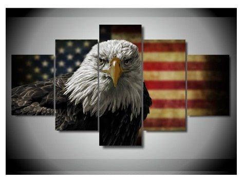 Canvas Painting 5 Pieces Eagle Anime Pictures Wall Art Home Decor Poster Modern Living Room Framed