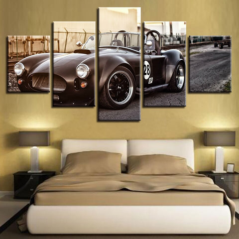 Living Room Wall Art Canvas Painting Modern HD Printed 5 Panel Grayish White Car Modular Posters Pictures Home Decorative Frames