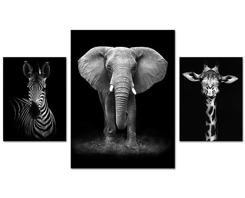 three pcs elephant black and white africa animal Canvas Oil Printings  Pictures for Living Room Office Work Bedroom Home Decor