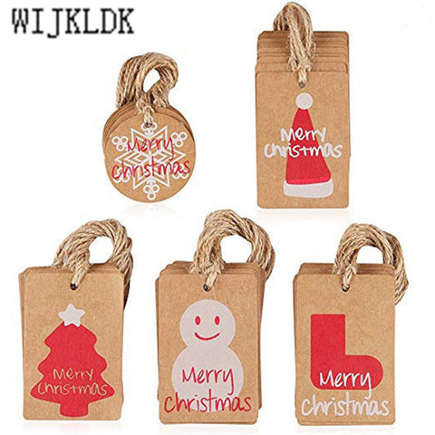 100pcs/lot Merry Christmas Kraft Paper Tag Christmas Ornaments Xmas Trees Decorations for Home Faovrs Santa Tags 2020 Navidad-S
