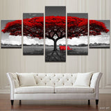 Home Decor Hd Printed Wall Art Pictures 5 Piece Red Tree Art Scenery Landscape Canvas Painting Home Decor For Living Room