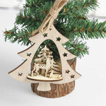 1PC New Christmas Tree Ornaments Hanging Xmas Tree Home Party Decor 3D Pendants High Quality Wooden Pendant Decoration Color
