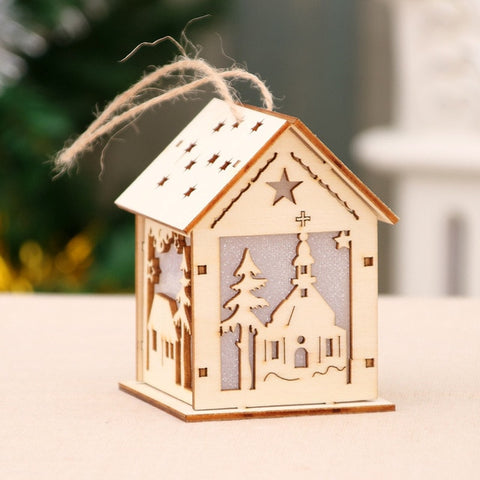 Festival Led Light Wood House Christmas Tree Decorations For Home Hanging Ornaments Holiday Nice Xmas Gift Wedding Navidad 2020