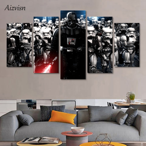 HD Print Canvas Painting Picture Modular Movie Poster 5 Piece Star Wars Modern Living Room Decoration Wall Art Framework
